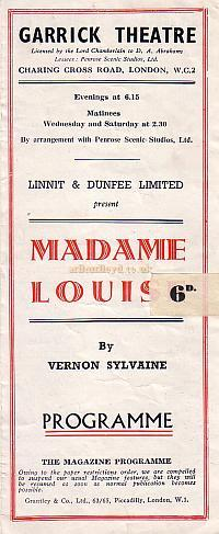 Programme for ' Madame Louise' at The Garrick Theatre early 1940s.