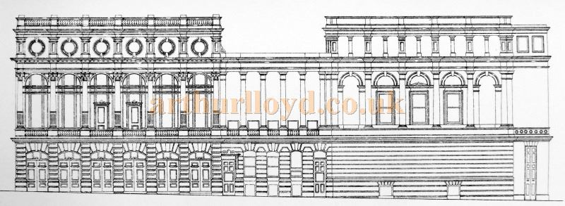 A Sketch of the Garrick Theatre Frontage - From 'Modern Opera Houses and Theatres' by Edwin O Sachs, Published 1896-1898, and held at the Library of the Technical University (TU) in Delft - Kindly sent in by John Otto.