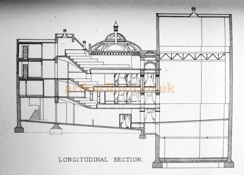 A Longitudinal Section Plan of the Garrick Theatre - From 'Modern Opera Houses and Theatres' by Edwin O Sachs, Published 1896-1898, and held at the Library of the Technical University (TU) in Delft - Kindly sent in by John Otto.