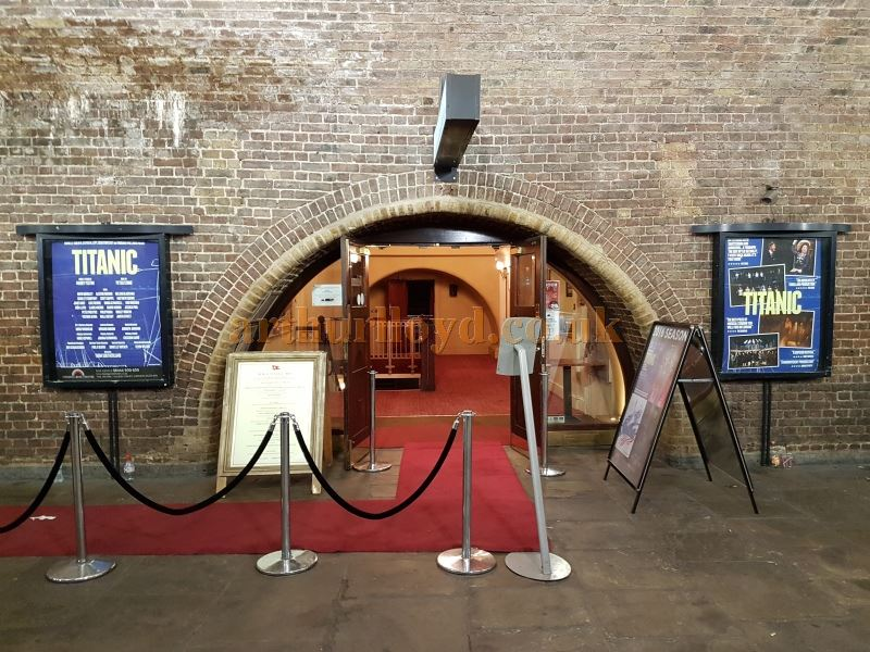 The Entrance and Foyer of the Charing Cross Theatre during the run of 'Titanic' in July 2016