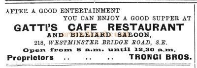 Advertisement for Gatti's Cafe Restaurant 218, Westminster Bridge Road.