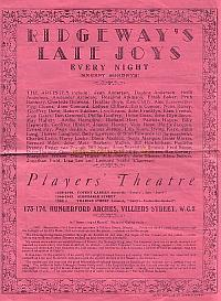 Programme for The Players' Theatre - June 16th 1947.