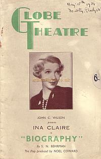 Programme for 'Biography' at the Globe Theatre in 1934.