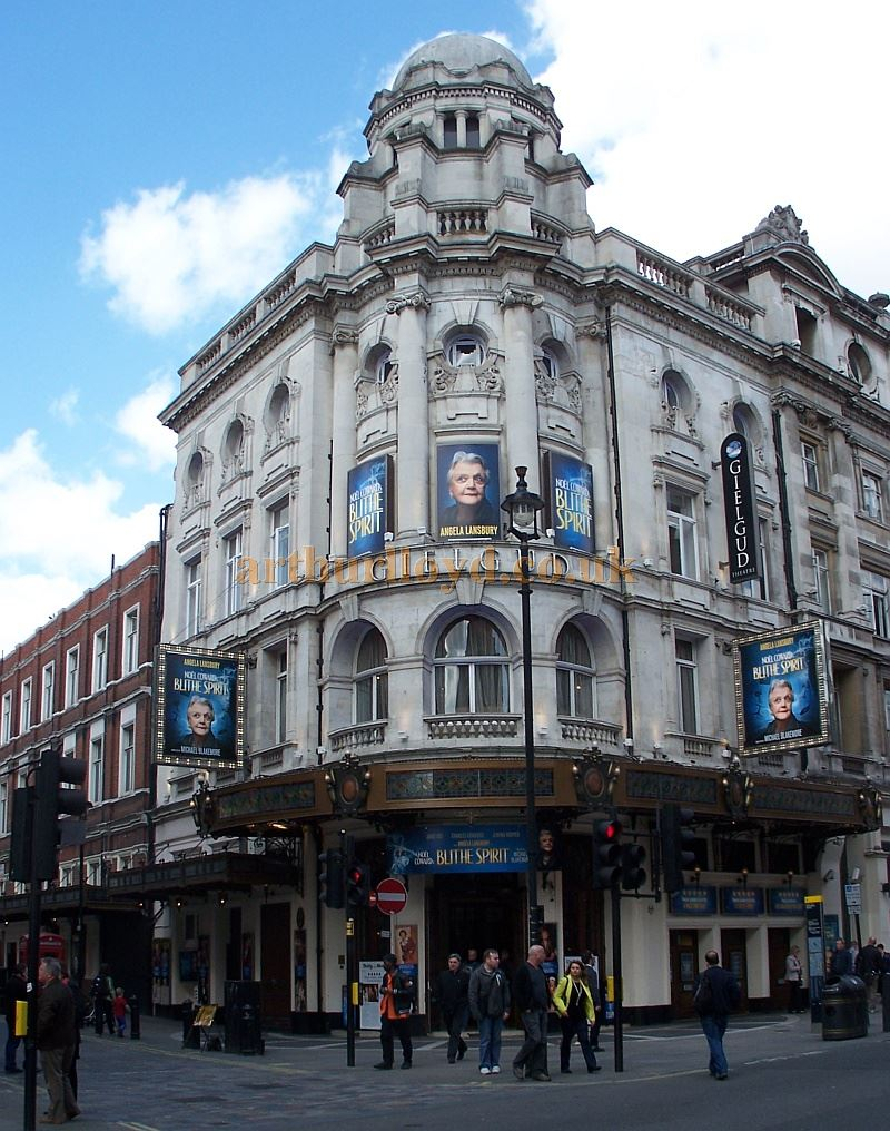 The Gielgud Theatre in April 2014 during the run of 'Blithe Sprit' with Angela Lansbury who had returned to the West End for the first time in nearly forty years - Photo M. L.
