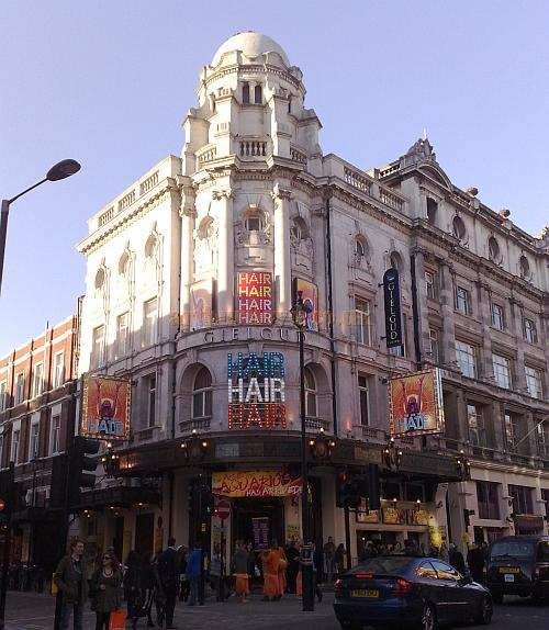 The Gielgud Theatre during the run of 'Hair' in April 2010 - Photo M.L.