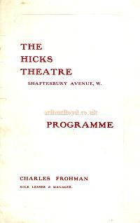 Programme for 'Brewster's Millions' at the Hicks Theatre in 1907, shortly after the Theatre opened. The play ran for 321 performances. - Click for details. - Courtesy Crispin Cockman.