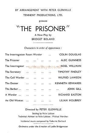Programme for 'The Prisoner' with Alec Guinness at the Globe Theatre in 1954.