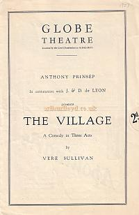 Programme for 'The Village' at the Globe Theatre in 1927.