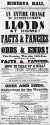 Bill for Horatio Lloyd's 'Facts and Fancies' at the Minerva Hall Glasgow - Click for more information.