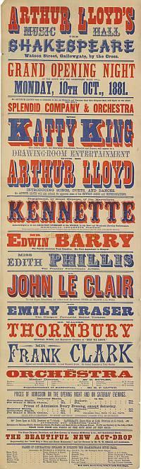 Poster for the opening night of Arthur Lloyd's Shakespeare Music Hall - October 1881 - Click to enlarge.