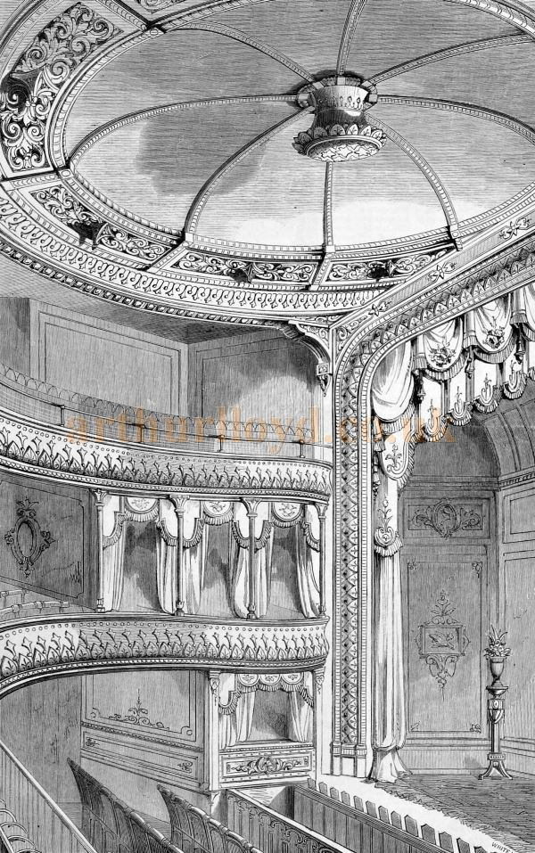 The Interior of the Royal Globe Theatre - From the Builder of December 12th 1868.