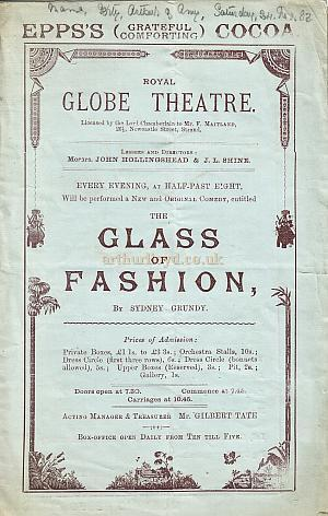 Programme for 'The Glass Of Fashion' at The Royal Globe Theatre - Monday 26th November, 1883.