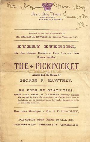 Programme for 'The Pickpocket' at The Royal Globe Theatre - Sunday 27th November, 1886.