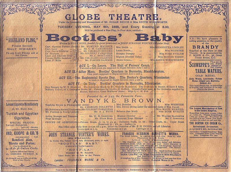 Detail from a Programme for 'Bootles' Baby' at the Globe Theatre on May the 8th 1888