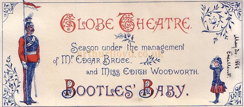 A Programme for 'Bootles' Baby' at the Globe Theatre on May the 8th 1888 - Click for details.