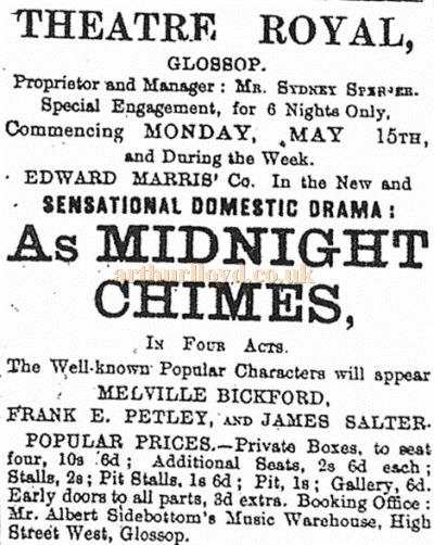 A newspaper advertisement for the Edward Marris' Company in 'As Midnight Chimes' at the Theatre Royal, Glossop - Courtesy Trefor Thomas.