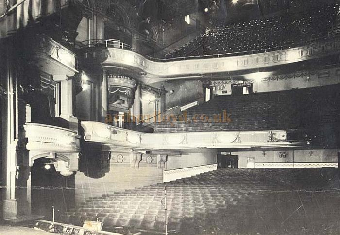 The auditorium of the Golders Green Hippodrome in a photograph taken from the stage in 1968 - Courtesy Mike Luther who worked as an electrician the Theatre from 1960 until it closed in February 1968.