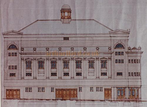 Bertie Crewe's original design drawing of the West Elevation of the Golders Green Hippodrome.