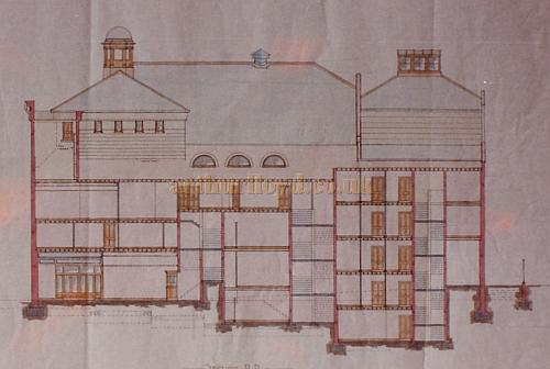Bertie Crewe's original design drawing of a section through the Foyers of the Golders Green Hippodrome.