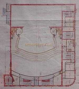 Bertie Crewe's original Front Circle Plan of the Golders Green Hippodrome.