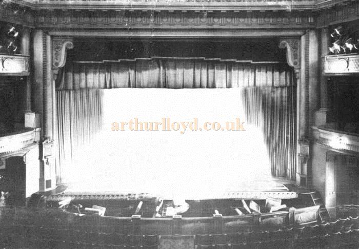 The stage of the Golders Green Hippodrome in a photograph taken from the front of the circle in 1968 - Courtesy Mike Luther who worked as an electrician the Theatre from 1960 until it closed in February 1968.