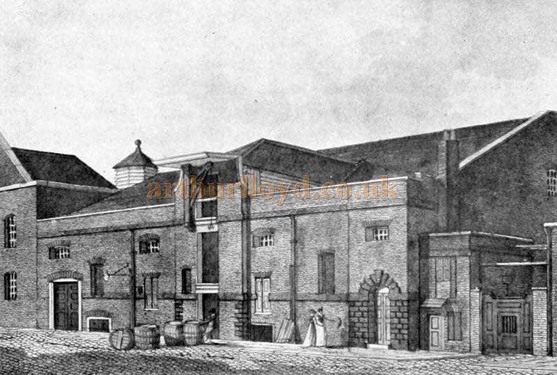 The Third Goodman's Fields Theatre, Great Alie Street, London in 1801 - From 'London Town Past and Present' Vol 2 by W. W. Hutchings 1909.
