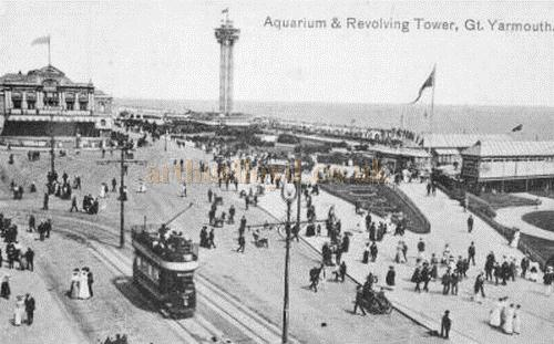 The Aquarium, Britannia Pier, and the revolving tower Great Yarmouth - From a postcard c.1920s