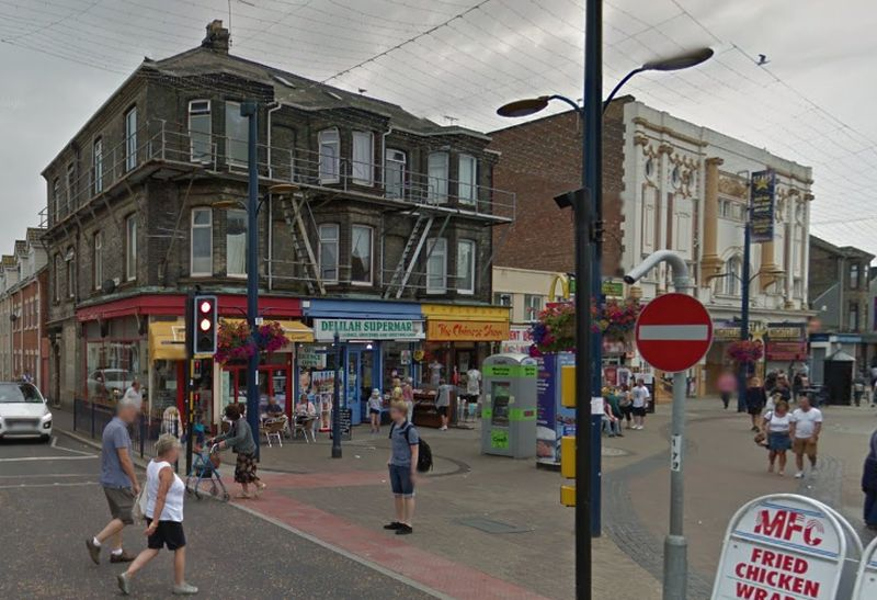 A Google StreetView Image which shows the Regent Theatre to the right of the image - Click to Interact