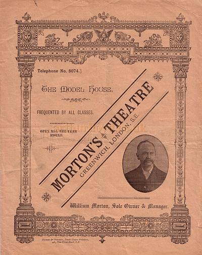 A Programme for Miss Cissy Graham's Triple Bill Company in 'The Highwayman', 'A Commission', and 'A Pantomime Rehearsal' at Morton's Theatre, Greenwich in March 1893.