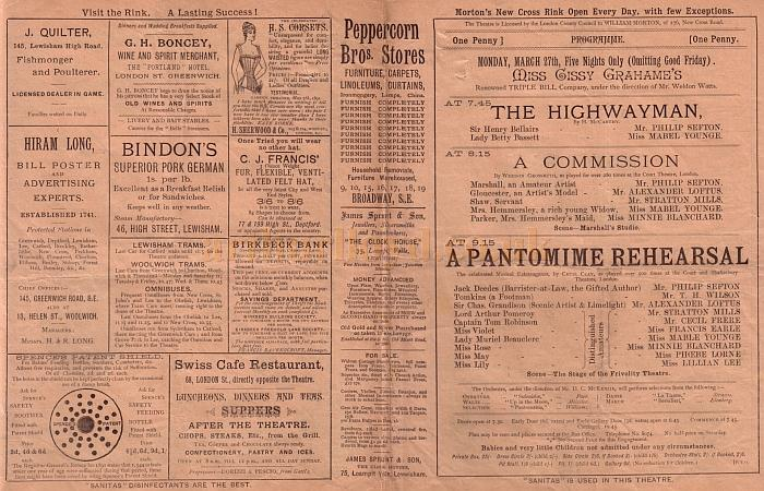 Details from a Programme for Miss Cissy Graham's Triple Bill Company in 'The Highwayman', 'A Commission', and 'A Pantomime Rehearsal' at Morton's Theatre, Greenwich in March 1893.