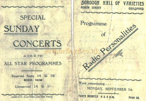 Programme for the Borough Hall Of Varieties, Guilford - Courtesy Alan Chudley