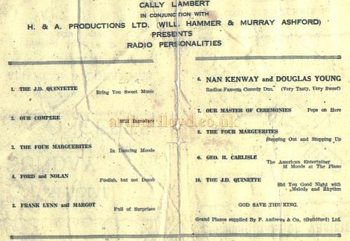 Programme for the Borough Hall Of Varieties, Guilford - Courtesy Alan Chudley.