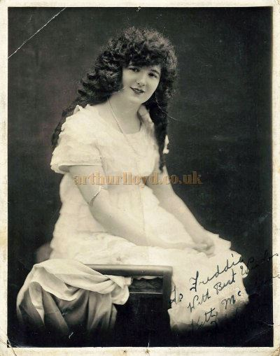 An early photograph of Kitty McShane signed and dedicated to Fred Migdley - Courtesy Roy Stockdill