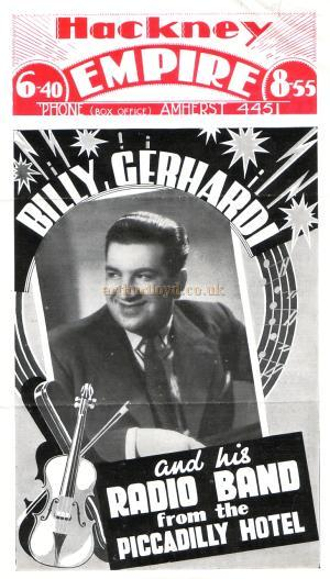 Variety programme from the Hackney Empire for the 13th of September 1937, featuring Billy Gerhardi and his radio band direct from the Piccadilly Hotel.