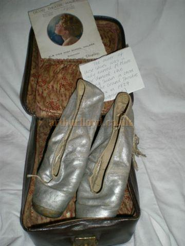 Mary Moore's ballet shoes which she used to dance the Dying Swan at the Grand Theatre, Halifax in 1929, still in their original case, along with a copy of the programme - Courtesy Jill Wood.