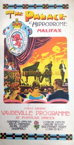 A Programme Cover for the Palace Theatre and Hippodrome, Halifax - Courtesy the Halifax Library and Philip Paine.