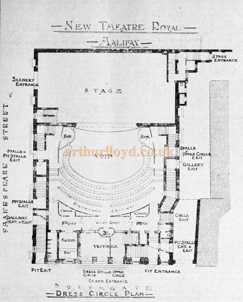 A Plan of the Theatre Royal, Halifax at Dress Circle Level - From The Building News and Engineering Journal, October 21st 1904