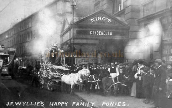 A Postcard from 1902 showing J. F. Wyllie's Happy Family Ponies outside the King's Theatre, Hammersmith on the Theatre's opening production of 'Cinderella'.