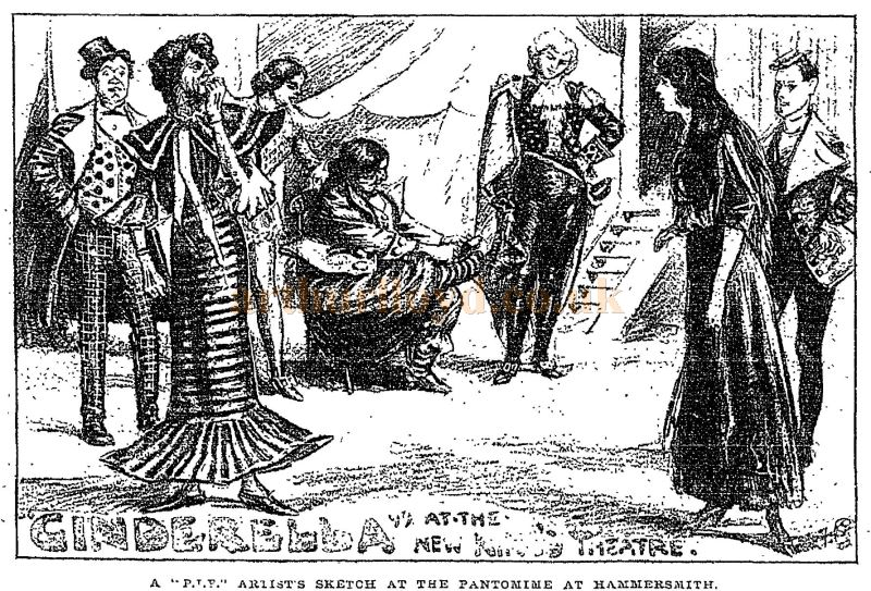 A Sketch showing the cast of 'Cinderella' at the newly opened King's Theatre, Hammersmith in December 1902 - From the Times Newspaper, 27th of December 1902.