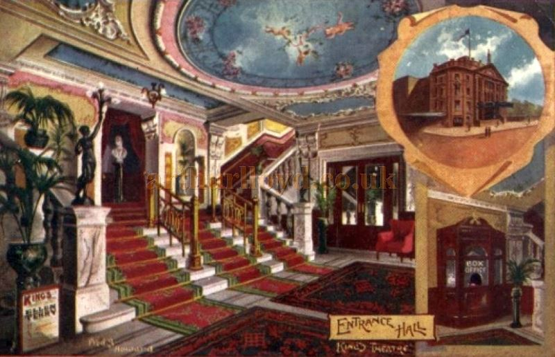 An early postcard showing the Entrance Hall of the King's Theatre, Hammersmith.