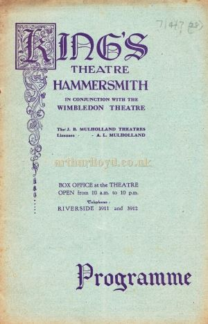 A Programme for George Edward's Daly's Theatre Company in the musical comedy 'A Yankee at the Court of King Arthur' which was staged at the King's Theatre, Hammersmith in 1930.