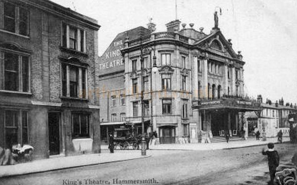 An early postcard showing the King's Theatre, Hammersmith.