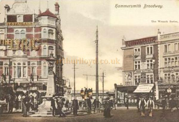 Postcard showing the Lyric Restaurant on Hammersmith Broadway.