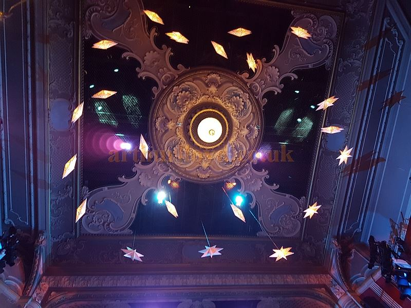 The Ceiling of the Lyric, Hammersmith during the run of the Pantomime 'Jack and the Beanstalk' in December 2017. Compare this with the original ceiling of the Theatre when it was situated on Bradmore Grove, Hammersmith in 1888.