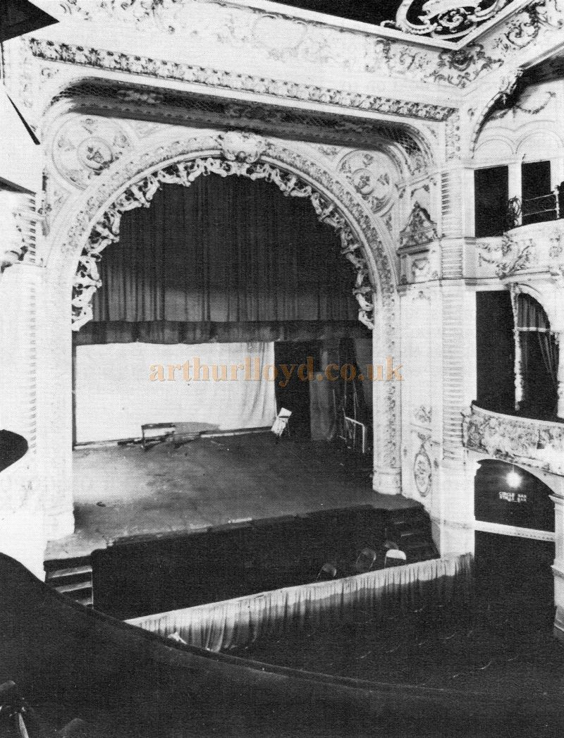 The Auditorium and Stage of the Matcham designed original Lyric Theatre, Hammersmith - Courtesy Roger Fox.