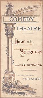 Programme for the comedy 'Dick Sheridan' at the Comedy Theatre in March 1894. - Click to see entire programme.