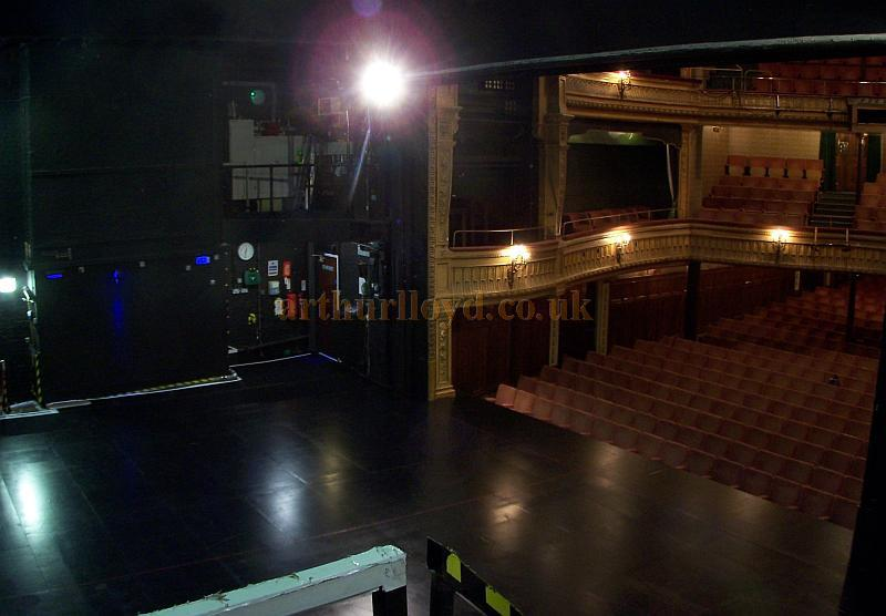 The auditorium and stage of the Harold Pinter Theatre in a photograph taken from the Dock Door 'get in' above the stage in September 2009 - Photo M.L.