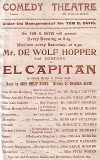 Programme for 'El Capitan' at the Comedy Theatre in the early 1900s.