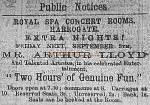 Advertisment for Two Hours Of Genuine Fun at the Harrogate Royal Spa Concert Rooms - Harrogate Herald - 3rd September 1879  - Courtesy Harrogate reference library - Click to go to the Two Hours Genuine Fun page