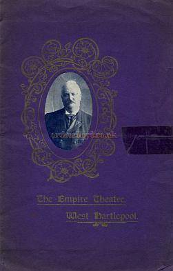 The opening night Souvenir Programme for the Empire Theatre, West Hartlepool in 1909 - Courtesy Cliff Reynolds.